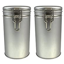 Latching Tea Tin, Tea Canister, Airtight Tea Container, Spice Storage Tins, Stainless Steel Coffee Canister w/ Airtight Latch Rubber Seal, 12 oz (Set of 2) (2)