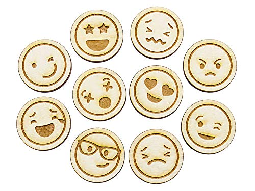 Summer-Ray 50pcs Laser Cut Wooden Emoji Token/Emoji Emoticon - Mixed