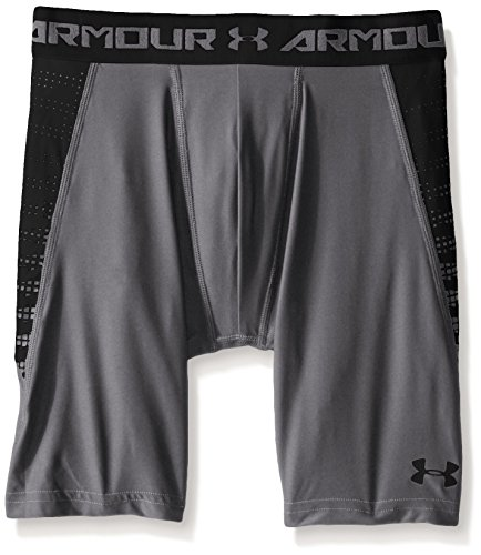 Under Armour Boys' HeatGear Armour Up Fitted Shorts – Long, Graphite/Black, Youth X-Small