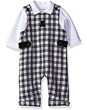 Baby Boys'' Plaid Bear Overall Set