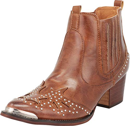 Cambridge Select Women's Western Cowboy Pointed Toe Crystal Rhinestone Block Heel Ankle Boot,6.5 B(M) US,Whiskey PU for $<!--$44.88-->