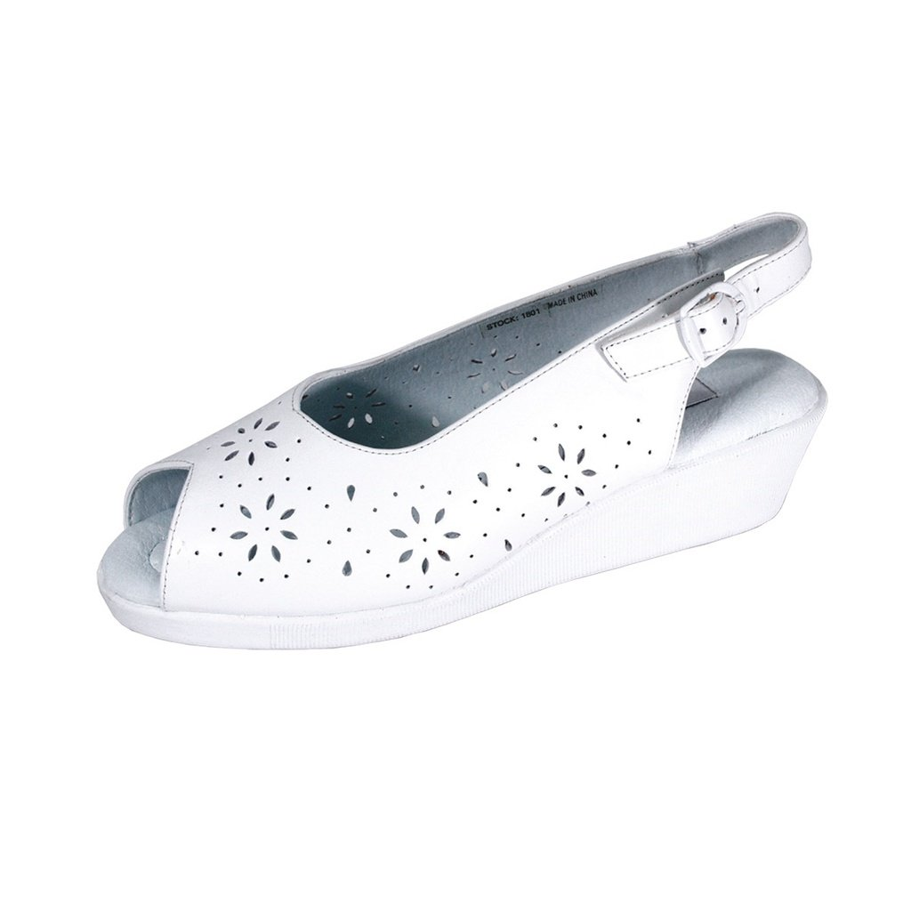 24 Hour Comfort   Anne Women Wide Width Elegant Floral Cut Designed Upper Leather Wedges Sandals B07F21XH8T 9.5 E|White