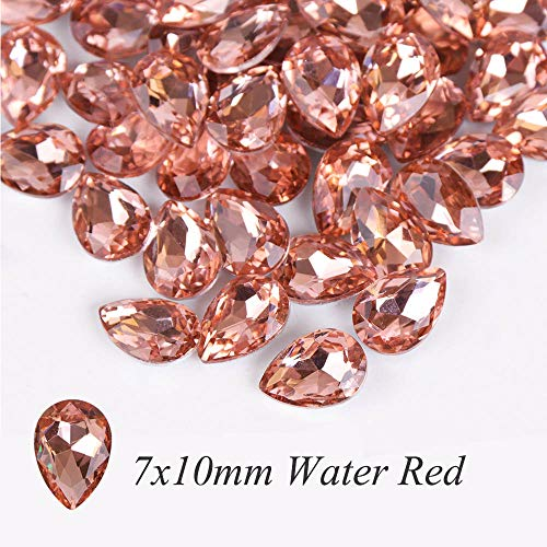 10Pcs Glass Crystal Rhinestones 3D Water Drop Stones Nail Art Decoration Fake gem Polishing Charm Design Accessories Jewelry BE030 Water Red 7x10mm