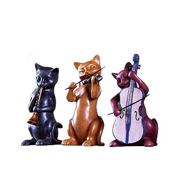Resina Tres Adornos para Gatos de música Decoraciones caseras Creativas artesanales Regalos de Boda Muebles de Sala: Amazon.es: Hogar