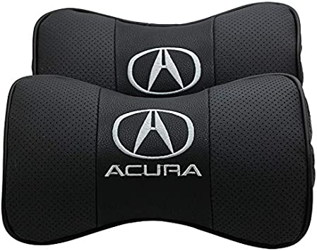 Auto Sport 2 PCS Genuine Leather Bone-Shaped Car Seat Pillow Neck Rest Headrest Comfortable Cushion Pad with Logo Pattern Fit Ac-ura Accessories black