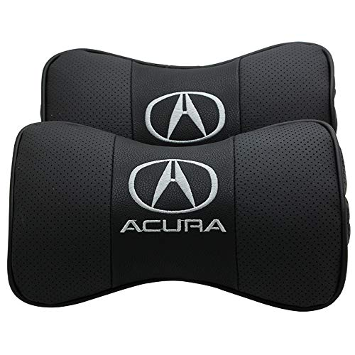 Auto Sport 2 PCS Genuine Leather Bone-Shaped Car Seat Pillow Neck Rest Headrest Comfortable Cushion Pad with Logo Pattern Fit Ac-ura Accessories