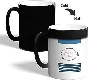 كوب القهوة السحري، اسود،  بتصميم سمكة البالون