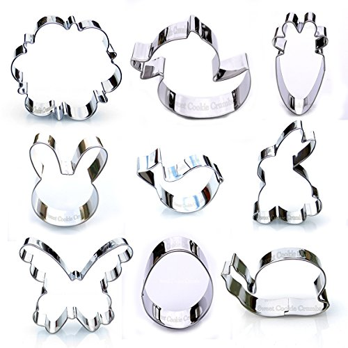Easter Rabbit Clipart (Easter Spring Cookie Cutter Set - 9 Piece Stainless Steel)