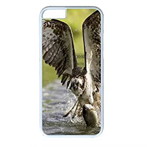 Hard Back Cover Case for iphone 6,Cool Fashion Art White PC Shell Skin for iphone 6 with Eagle With Fish