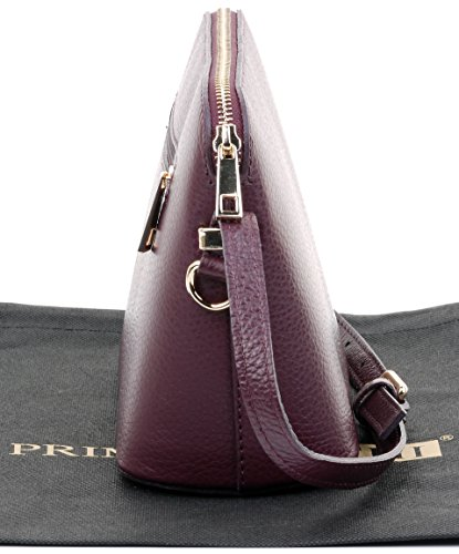 Bag Includes Triangular Plum or Bag Shoulder Italian Crossbody Genuine Sacchi Textured Leather Primo Storage Small Branded vwHPY