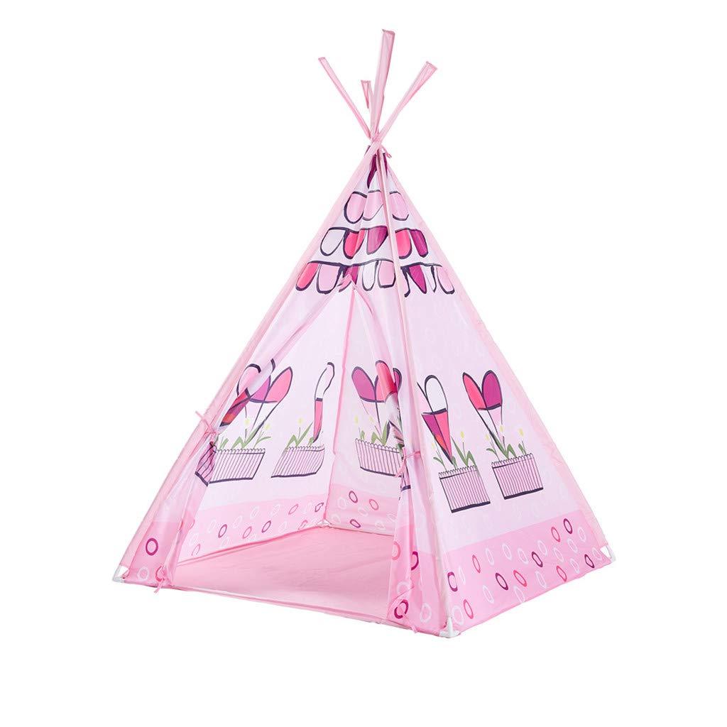 Binory 折りたたみ式 キッズ クラシック インディアン プレイテント マット&キャリーケース付き ポータブル インドア アウトドア ピクニック キャンバス ティピープレイハウス 壁付き ドアウィンドウと床付き 男の子 女の子 子供への誕生日プレゼント ピンク 001 B07RY2JVBZ ピンク