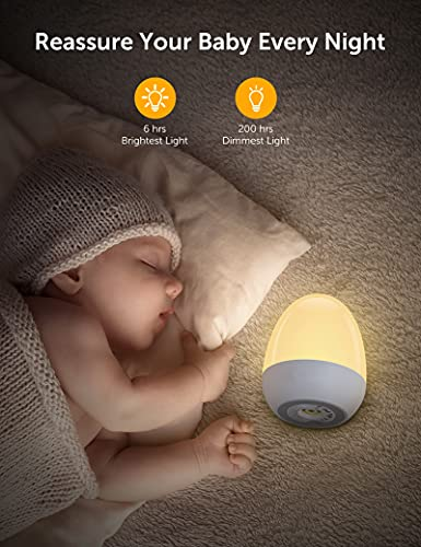 JolyWell Night Lights for Kids with Stable Charging Pad, Touch Control&Timer Setting, ABS+PC Baby Egg Lamp for Breastfeeding,White