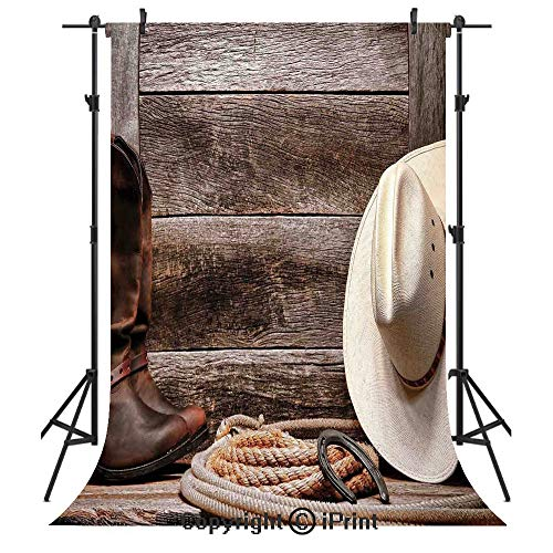 Western Decor Photography Backdrops,American West Rodeo White Straw Cowboy Hat with Lariat Leather Boots on Rustic Barn Wood,Birthday Party Seamless Photo Studio Booth Background Banner 3x5ft, ()