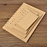 Chris-Wang 80 Sheets A5 Size 6-Holes Traveler's Notebook Planner Filler Papers / Journal Dairy Inserts Refill Kraft Paper/ Loose-leaf Binder Paper, Brown Color, 8.5''(Blank)
