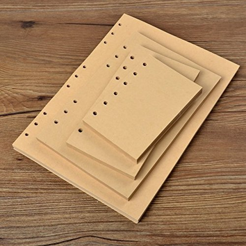 Chris-Wang 80 Sheets A5 Size 6-Holes Traveler's Notebook Planner Filler Papers / Journal Dairy Inserts Refill Kraft Paper/ Loose-leaf Binder Paper, Brown Color, 8.5''(Blank) by Chris-Wang