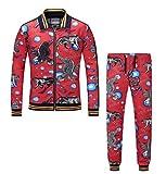 ECTIC 3D Printed Animal Tiger Snake Eagle Series Men Suit Jacket Pants (Red, M)