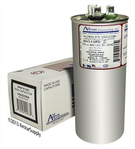 2 Made in The U.S.A. 5 uf MFD 370//440 Volt VAC AmRad Round Dual Run Capacitor Comfort Maker 1172113-80 Pack