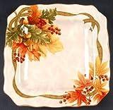 222 Fifth Autumn Celebration Square Salad Plates, Set of 4 Harvest Thanksgiving