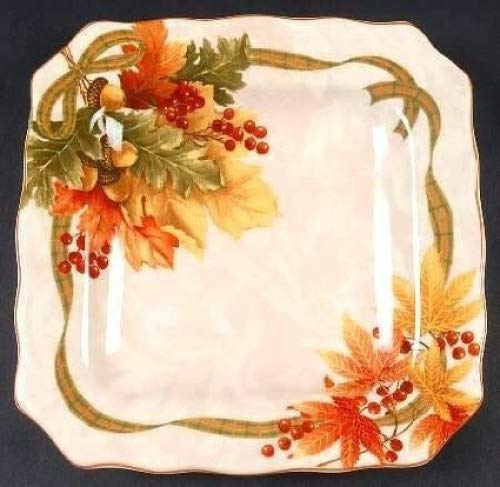 222 Fifth Autumn Celebration Square Salad Plates, Set of 4 Harvest Thanksgiving ()