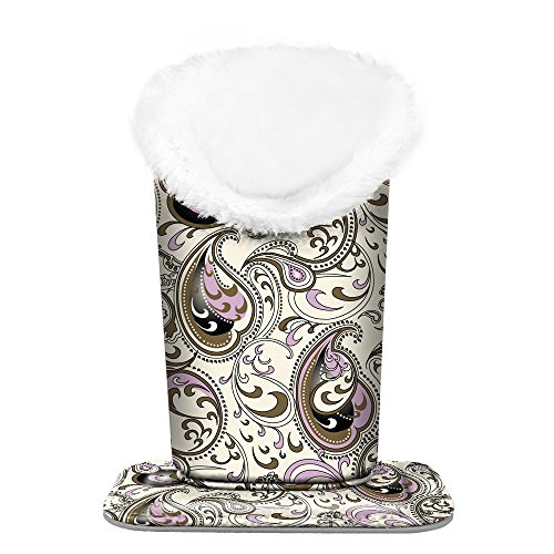 Fintie Plush Lined Eyeglasses Holder with Magnetic Base- PU Leather Glasses Stand Case (ZA-Paisley Waves)