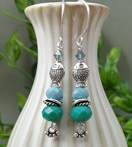 A Pair of Tiny Silver Fish Earrings with Swarovski Crystals in Jade Teal Green and Slate (Green Jade Crystal Earring)
