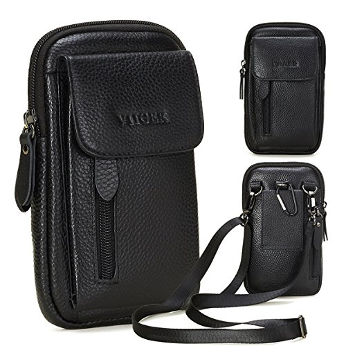 VIIGER Leather Small Crossbody Travel Purse Crossbody Bag Vertical Cell Phone Pouch Belt Holster Mini Shoulder Bag Belt Pouches for Men Compatible for iPhone Xs Max X 6 7 8 Plus Galaxy S8 S9 S10 Plus (Cellular Phone Pouch)