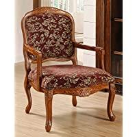 Metro Shop Curved Arm Merlot Floral Chair--