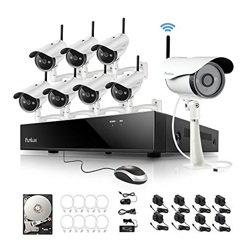 Funlux KS-S88UA-W-2TB 8 1MP 720P HD Wireless IP Network Security Cameras Bundle with Accessories (9 Items)