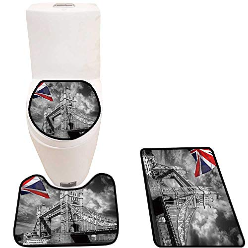 3 Piece Bathroom Mat Set London Tower Bridge Flag ENGL Soft Shaggy Non Slip