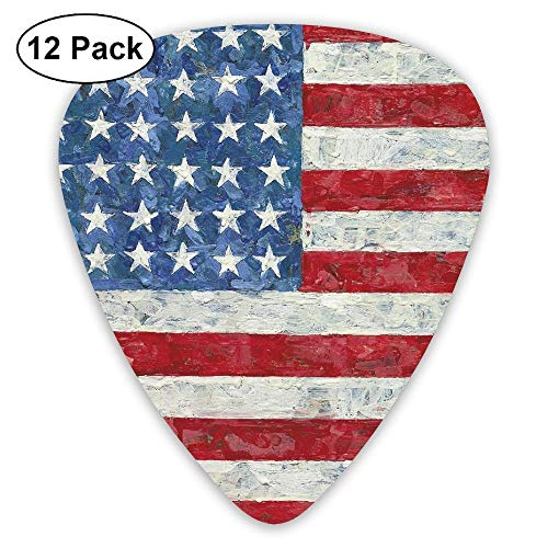 Vintage Guitar Picks American Flag Painting 12 Pack Plectrums for Bass, Electric Guitar, Acoustic Guitar, Includes Thin, Medium & Heavy Gauges