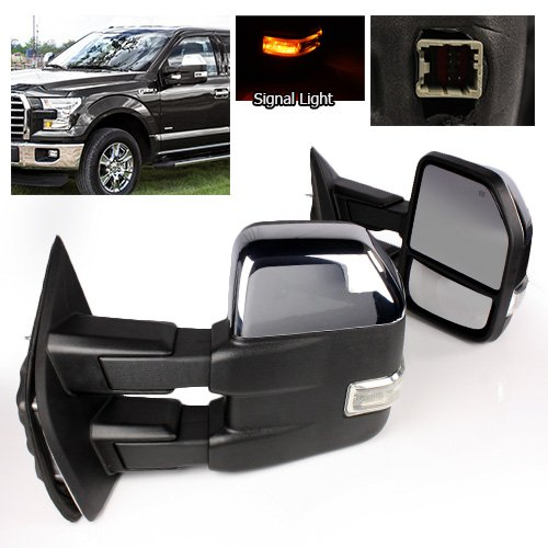 Modifystreet Power Side Towing Mirrors with Turn Signal & Heated Defrost for 2015-2016 Ford F150 (8 pin connector) models - Chrome