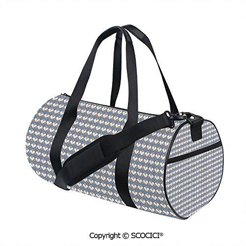 (Canvas cylinder sports bag,Modern Nested Repeating Diamond Line Pattern with Vertical LinesBarrel Bag for Women and Men,(17.6 x 9 x 9 in) Slate Blue Dried Rose White)