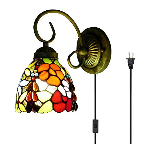 Kiven Tiffany Wall lamp E26 1-Light Plug-in Bulb not Included Wall Sconce Glass Shade 6 Foot Black Cord(BD0520)