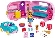 ​Barbie Club Chelsea Camper Playset with Chelsea Doll, Puppy, Car, Camper, Firepit, Guitar and 10 Accessories,