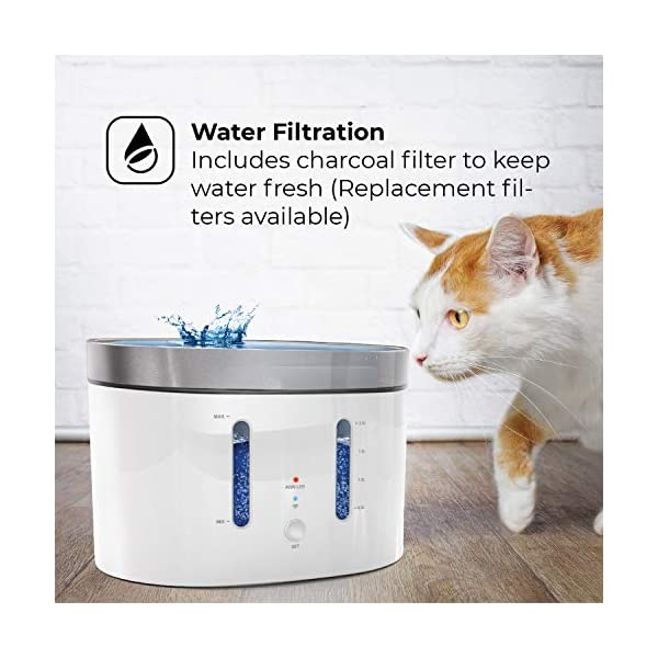 Home Zone Pet Water Fountain - Smart Wireless Water Fountain for Small Cats and Dogs, 2L 5