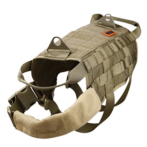 OneTigris Tactical Dog Training Molle Vest Harness (Coyote Brown, XL / 54cm)