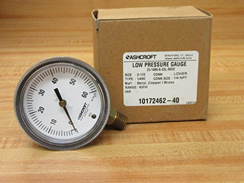 Ashcroft Type 1490 Glass Filled Polysulfone Low Pressure Diaphragm Gauge, Beryllium Copper, Brass, Polysulfone and RTV Silicone Wetted Material, Brass Socket and Movement, 2-1/2