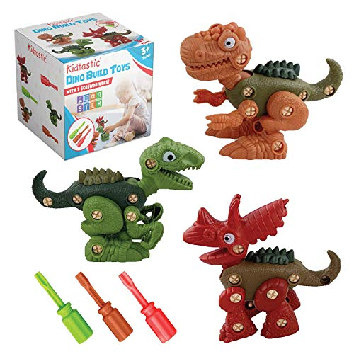 Kidtastic Dinosaur Toys - T-Rex, Velicoraptor, Triceratops - Take Apart STEM Learning Fun Pack of 3 Construction Engineering Play Set for Boys Girls, Best Toy Gift Kids 3 Year olds, New 2019 Model