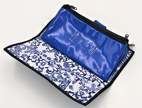 Cute Blue and White Oilcloth Envelope System Wallet for Cash Budgeting and Extreme Couponing - Zipper Cash Envelopes