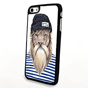 Generic Phone Accessories Matte Hard Plastic Phone Cases Cartoon Animal Lion with Hat fit for Iphone 6