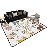 Indoor Floor mat,Crossword Educational Puzzle for Children with Different Farm Animals and Numbers 6'x9',Can be Used for Floor Decoration
