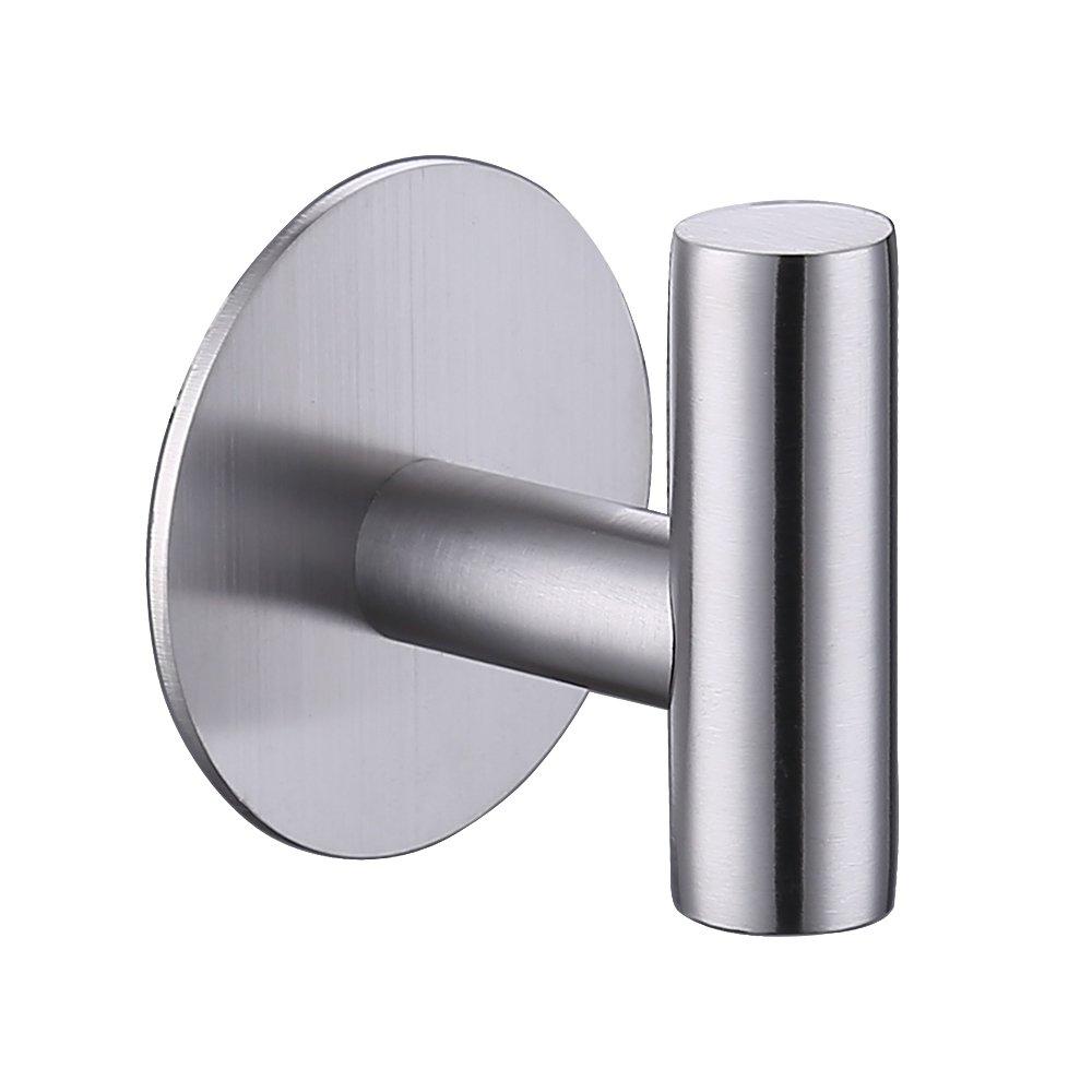 KES Self Adhesive Hooks Rail STAINLESS STEEL 1-Hook Rack Bath Towel Hook Sticky Bathroom Kitchen Towel Multi Hanger Brushed Finish AH7204-2 KES Home