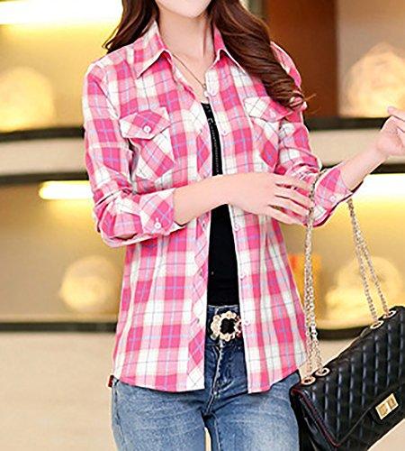 Maglie Sottile Tumblr Basic Shirts Manica Reticolo Primavera Risvolto Fashion Blouse Moda Bluse Tops Rossa Autunno e a Simple Acqua Camicie Casual Maglietta Donna Lunga Z87pPR