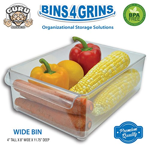 Stackable Bins Kitchen Storage Containers Refrigerator Organizer Single Wide Bin 4 Grins