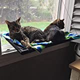 Cat Hammock Window Bed Perch Seat Sunny for Lager Cats Perches Furniture Two Kitty Window Sill Seat Window Mounted Animal Pet Kitten Cot Beds Gre1Bee Upgraded Version 4 Big Suction Cups Holds Up 50lb (Cat bed window)