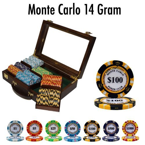 300 Pc Poker Chip Case - Brybelly Holdings PCS-2602W Pre-Pack - 300 Ct Monte Carlo Chip Set Walnut Case