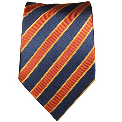 Cravate homme bleu orange rayée 100% cravate en soie ( longueur 165cm )
