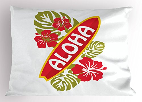 Lunarable Surfboard Pillow Sham, Aloha Text on Surfboard Tropical Flowers Typography Hawaii Islands, Decorative Standard Queen Size Printed Pillowcase, 30 X 20 Inches, Dark Coral Lime Green by Lunarable