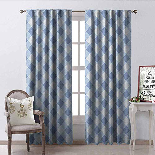 GloriaJohnson Geometric Heat Insulation Curtain Diamond Rhombus Pattern Checkered Grid Style Mosaic Composition for Living Room or Bedroom W52 x L95 Inch Slate Blue and Baby Blue