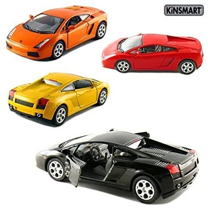 Set Of 4: 5u0026quot; Lamborghini Gallardo 1:32 Scale (Black/Orange